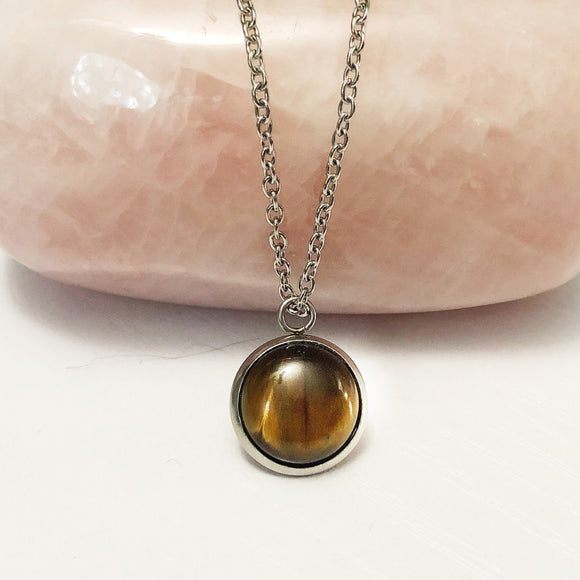 Tiger Eye Necklace- Stainless Steel Gemstone Necklace