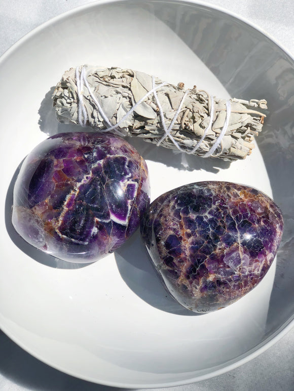 Chevron Amethyst Palm Stone- Stone of Psychic Energy, Protection & Intuition