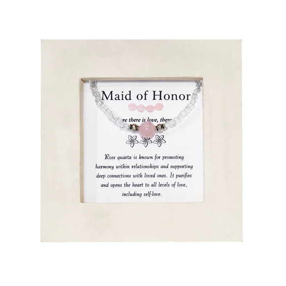 Maid of Honor- Rose Quartz Framed Bracelet - Mindful Intentions