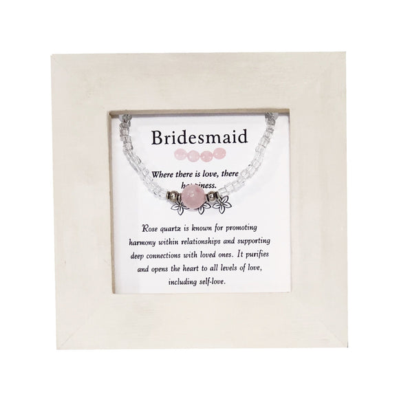 Bridesmaid- Rose Quartz Framed Bracelet - Mindful Intentions