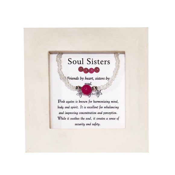 Soul Sisters- Pink Agate Framed Bracelet - Mindful Intentions