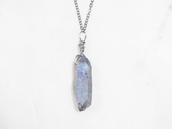 Indigo Aura Quartz Necklace- For Shadow Work & Development - Mindful Intentions