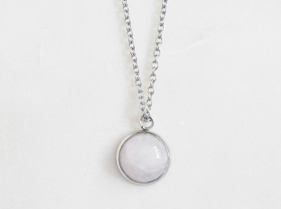 Rose Quartz Necklace- Stainless Steel Gemstone Necklace - Mindful Intentions