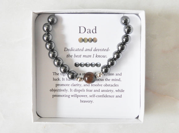 Dad- Men's Tiger Eye Bracelet - Mindful Intentions