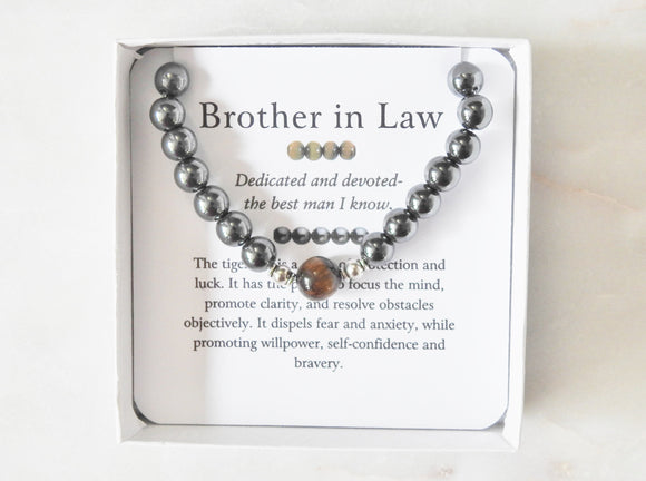 Brother in Law- Men's Tiger Eye Bracelet - Mindful Intentions
