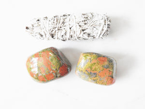 Unakite Palm Stone- Harmony & Past Life Regression Stone - Mindful Intentions