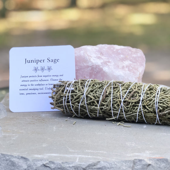 Juniper Sage Smudging Stick- Includes Ritual Instruction Card - Mindful Intentions