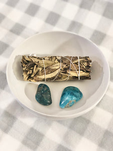 Blue Apatite Palm Stone- Motivation Stone - Mindful Intentions