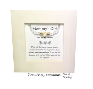 Mommy's Girl-White Dust Jade Kid's Framed Bracelet