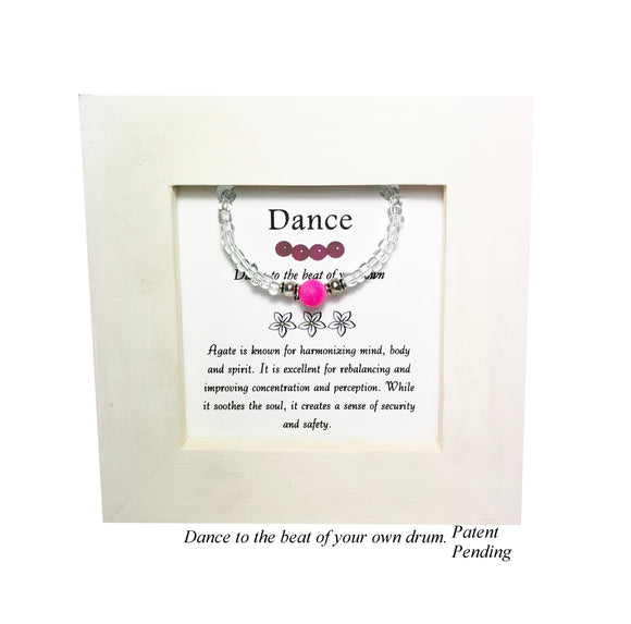 Dance- Pink Agate Kid's Framed Bracelet - Mindful Intentions