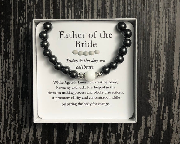 Father of the Bride- Men's Agates Bracelet - Mindful Intentions