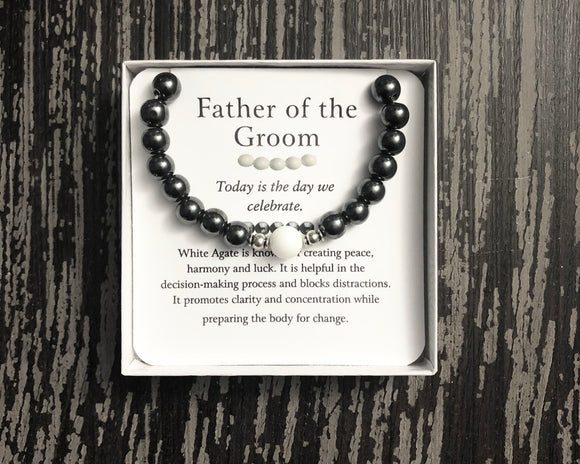 Father of the Groom- Men's Agates Bracelet - Mindful Intentions