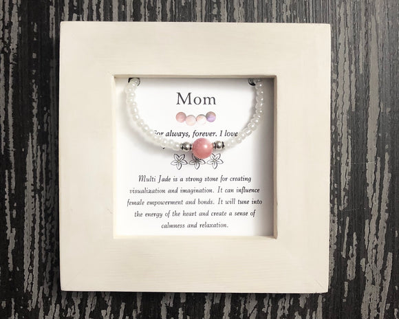 Mom- Multi Jade Framed Bracelet - Mindful Intentions