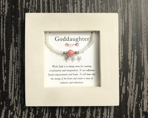 Goddaughter- Multi Jade Framed Bracelet - Mindful Intentions