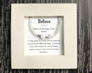 Believe- Ice Flaked Quartz Framed Bracelet - Mindful Intentions