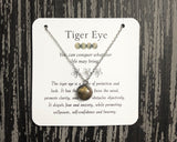 Tiger Eye Necklace- Stainless Steel Gemstone Necklace - Mindful Intentions
