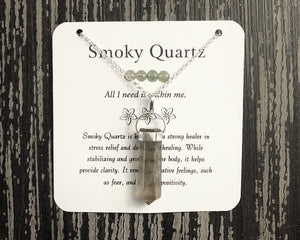 Smoky Quartz Necklace- Sterling Silver Gemstone Necklace - Mindful Intentions