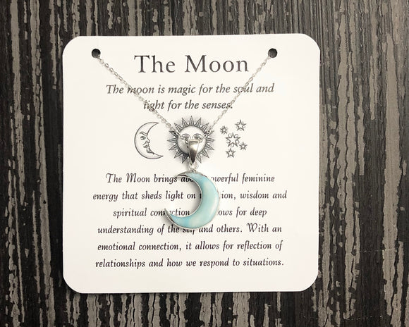 Blue Shell Moon Necklace- Silver - Mindful Intentions