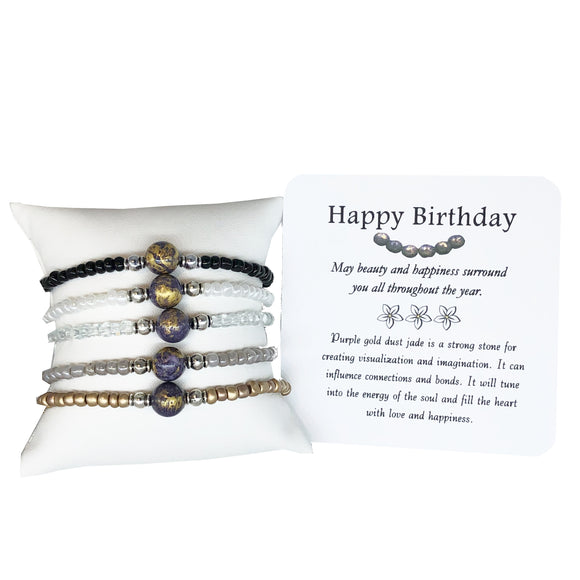 Happy Birthday- Purple Gold-Dust Jade Bracelet - Mindful Intentions