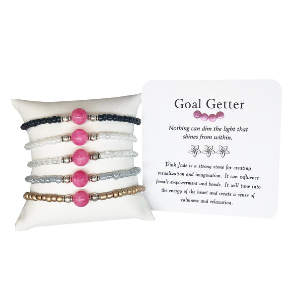 Goal Getter- Pink Jade Bracelet - Mindful Intentions