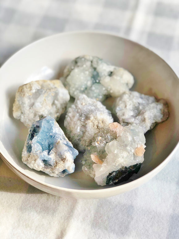 Celestite Crystal Geode- Stone of Angelic Inspiration, Serendipity, Calmness & Spiritual Guidance