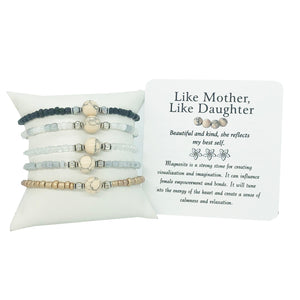 Like Mother, Like Daughter- Mother's Day Magnesite Bracelet- Set of Two - Mindful Intentions