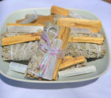 Energy Cleansing Kit Bundle- Smudge Kit with Sage, Palo Santo, Selenite, Clear Quartz & Ritual Instruction Card - Mindful Intentions