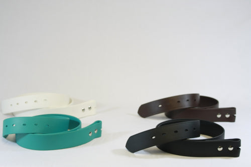Group of BioThane Belts (Strap Only) in White, Brown, Teal, and Black