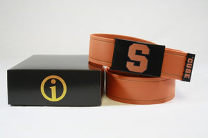 The Game Day Belt resting on a black product box printed with the OI Wear logo.