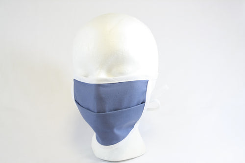 Blue, single layer mask with adjustable center fold