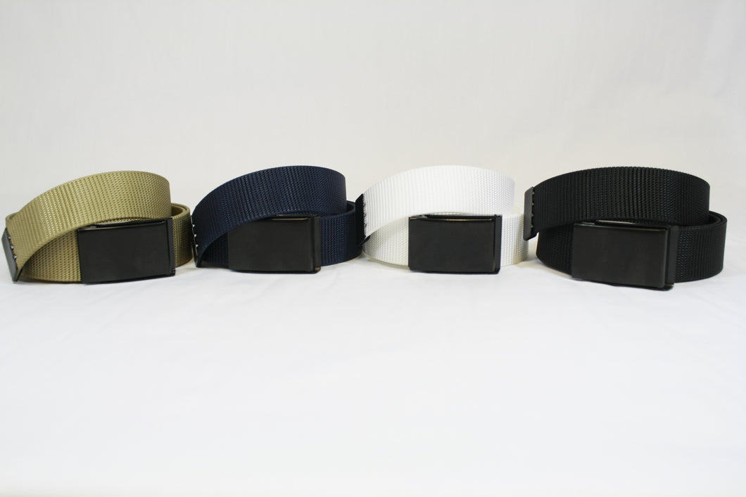 Group of Web Belts in Tan, Navy, White, and Black