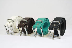 White, Brown, Teal, and Black BioThane Belts