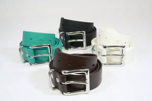 Group of BioThane Belts in Teal, Black, Brown, and White