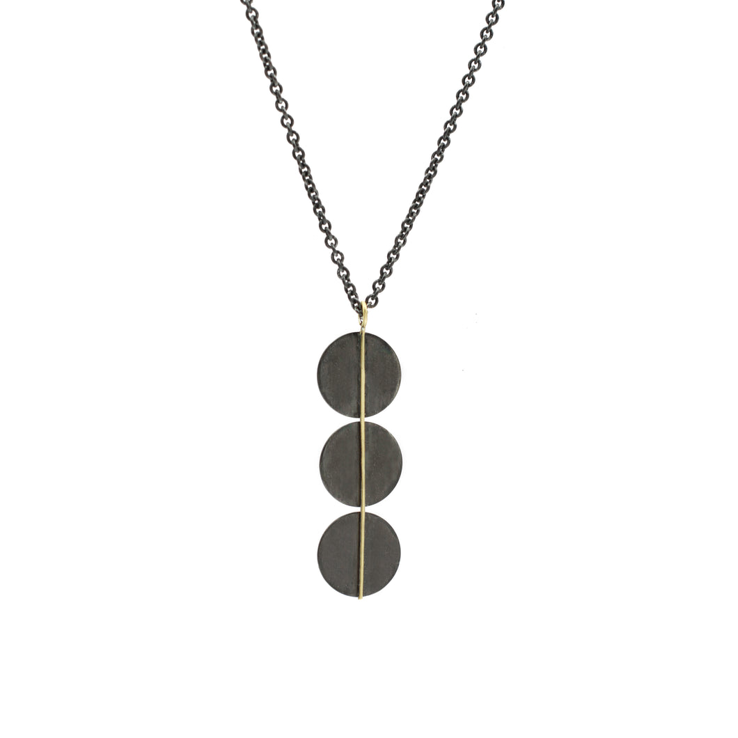 Black and Gold Triple Circle Necklace