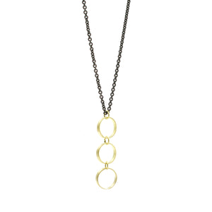 Triple Gold Circle Necklace on Blackened Chain