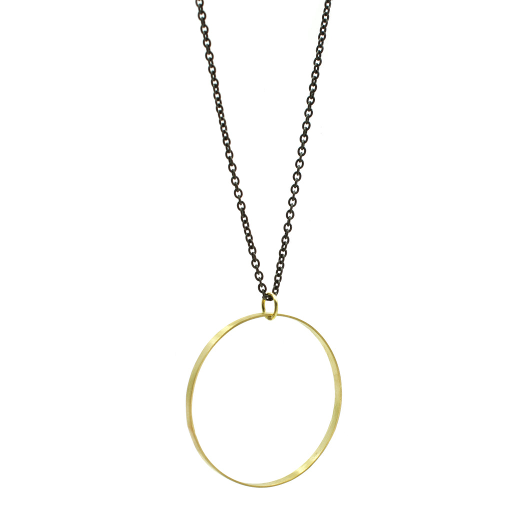 Large Gold Open Circle Pendant on Blackened Chain