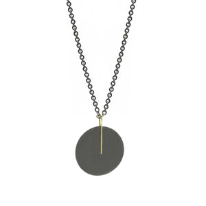 Large Circle Black and Gold Pendant