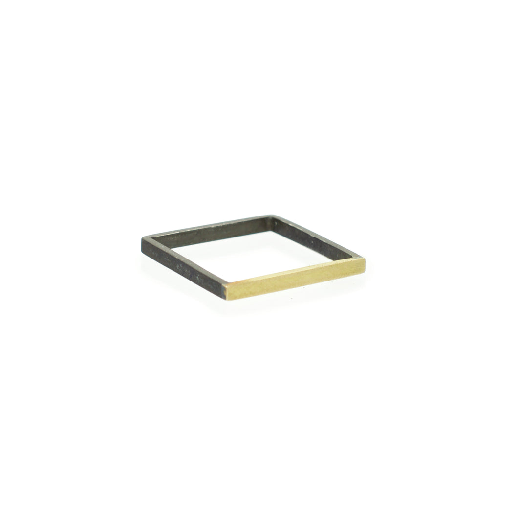 Square Black and Gold Ring Size 7