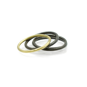 Black and Gold Ring Set of 3 Size 7