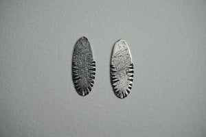 Large oval sterling silver ridge textured stud earring