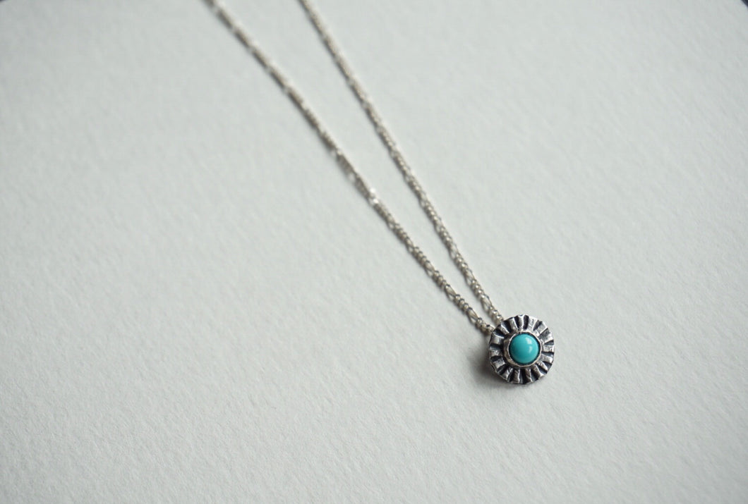 Small sterling silver ridge circle necklace with turquoise