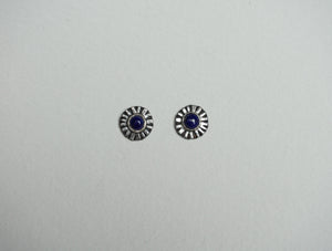 Small sterling silver ridge circle post stud earring with lapis