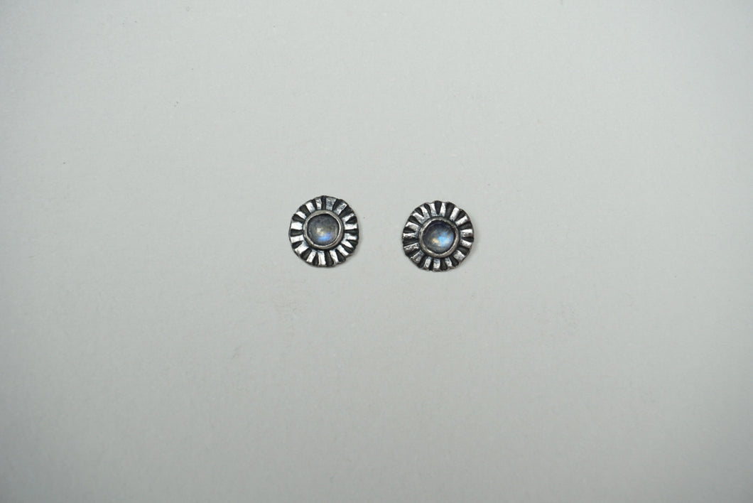 Small sterling silver ridge circle post stud earring with moonstone