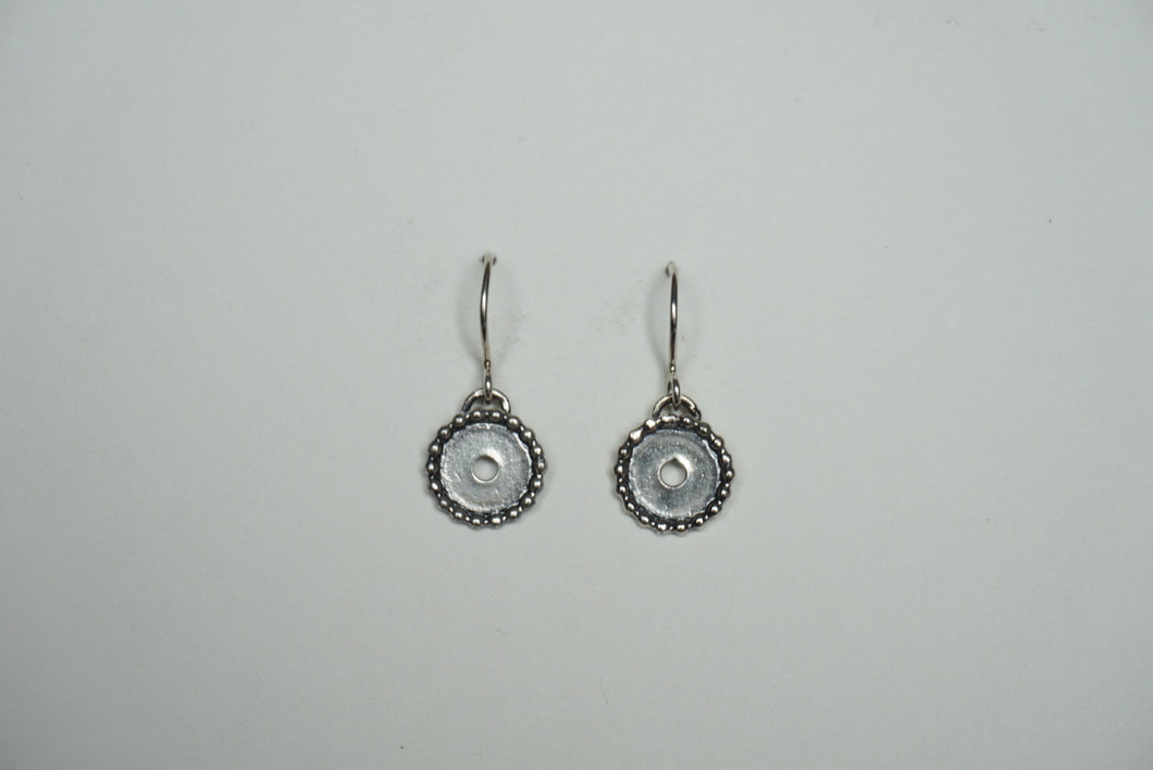 Sterling silver circle dangle earrings with outer dots