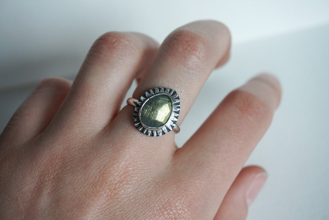 Faceted labradorite with silver ring size 7.5