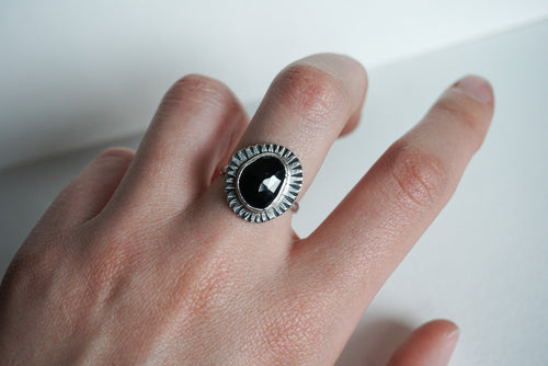 Faceted black spinel and silver ring size 7.5