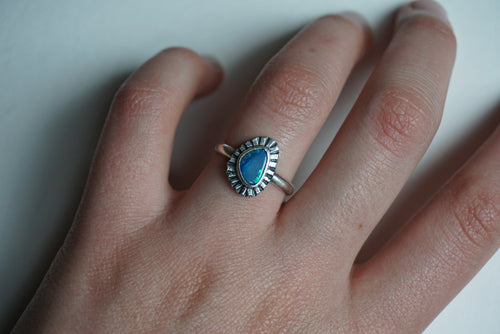 Boulder opal and silver ring size 7