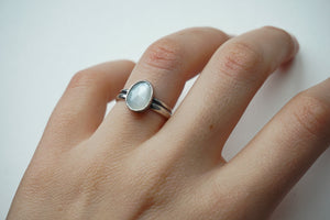 Faceted moonstone and silver ring sz. 7