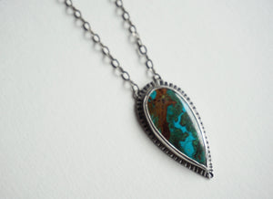 Teardrop Chrysocolla and silver necklace 20""