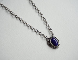 Faceted lapis bezel set silver necklace 18""